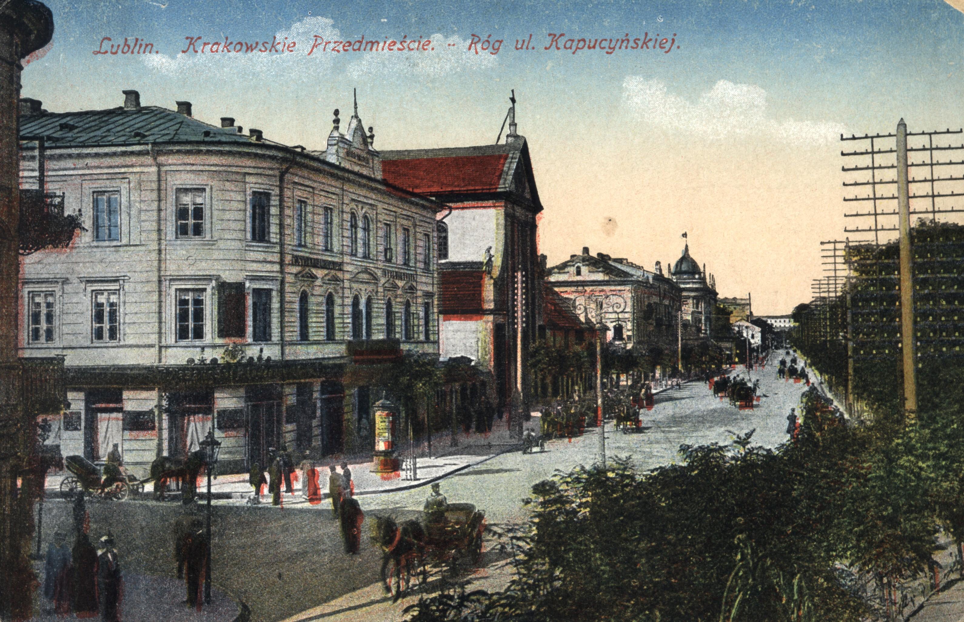 Lublin, ul. Krakowskie Przedmieście. Róg ul. Kapucyńskiej zhotelem Victoria. Ok. 1917.
